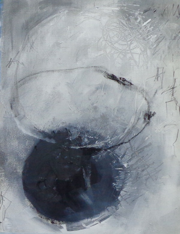 Clare Murray Adams Black and White Paintings acrylic paint with oil crayon and pencil on canvas