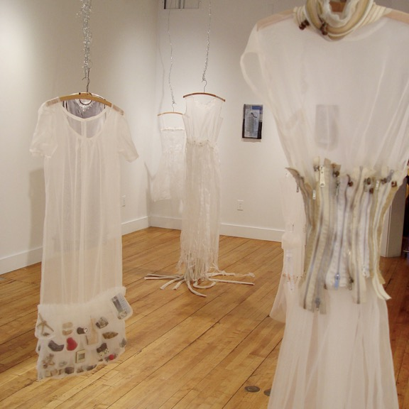 Clare Murray Adams Installations sculptural dresses from silk organza