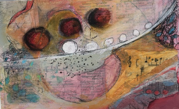 Clare Murray Adams Mixed Media Collage  layered mixed media collage on paper