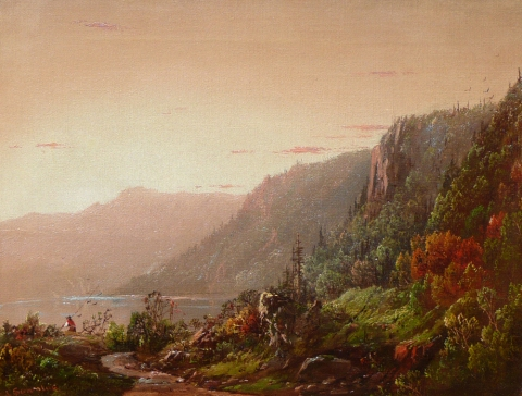 19th Century Fishing in a Mountain Lake