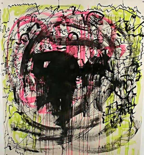 Claudia Ryan Large Paintings on paper ink,urethane,pigment on paper
