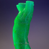 Despairing Adolescent 3D printed, cast blue uranium glass