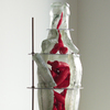 Bottle/Coca Cola Form Cast glass, threaded metal rod, rubber, gesso, wood plinth
