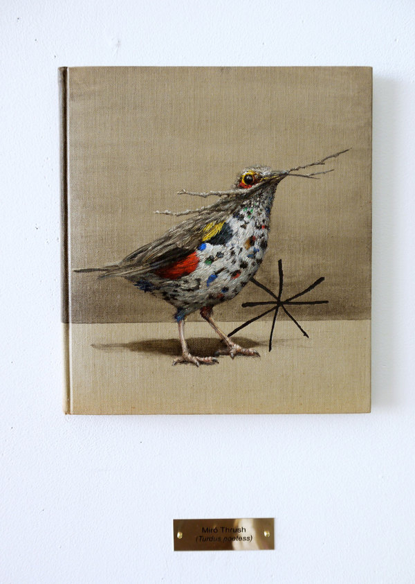 CLIVE SMITH STUDIO Speculative Birds of America and Europe Oil and Acrylic on found book, 9 5/8 x 8 3/4 x 5/8 in