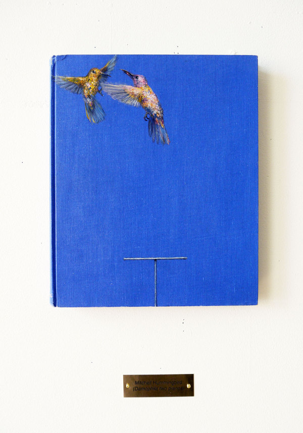 CLIVE SMITH STUDIO Speculative Birds of America and Europe Oil and Acrylic on found book, 10 x 8 3/4 x 3/4 in