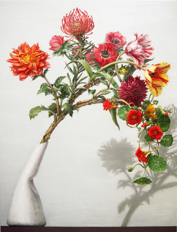 "CLIVE SMITH STUDIO Transgenic Bouquets Oil on wood panel, 28.75 x 22"", 2018"
