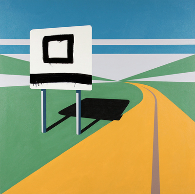 Cody Justus signs and roadscapes acrylic and oil on canvas