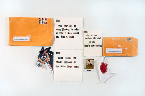 Cody Justus works on paper  found paper, cotton, paper collage, envelopes, and polaroid