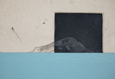 Cody Justus signs and roadscapes acrylic, cyanotype, graphite on canvas