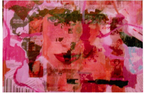 Inferno- Work destroyed in my studio fire acrylic, collage, photo transfers on canvasboard