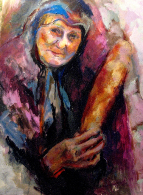 Inferno- Work destroyed in my studio fire Old Greek Woman