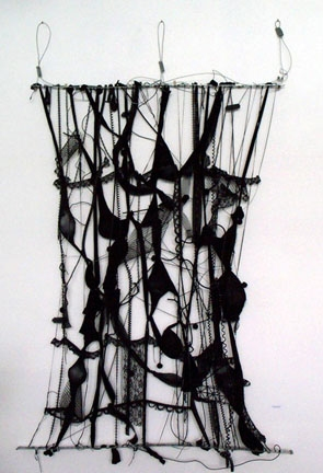 Marcia Cooper the DANCE & FLOATING WALL Mixed Media; Metal, pantyhose, chain, fibers, lace,hose