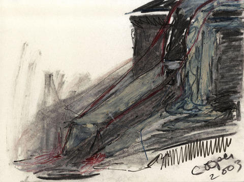 Marcia Cooper WTC Memorial, Drawing, LMCC Proposal, 2003 charcoal, pastel & marker