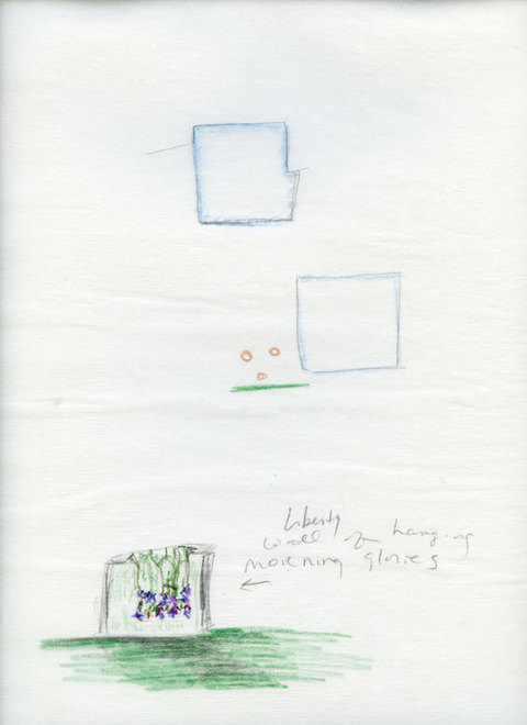 Marcia Cooper WTC Memorial, Drawing, LMCC Proposal, 2003 Color pencil and pencil on tracing paper