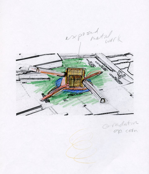 Marcia Cooper WTC Memorial, Drawing, LMCC Proposal, 2003 color pencil and pencil on printed study