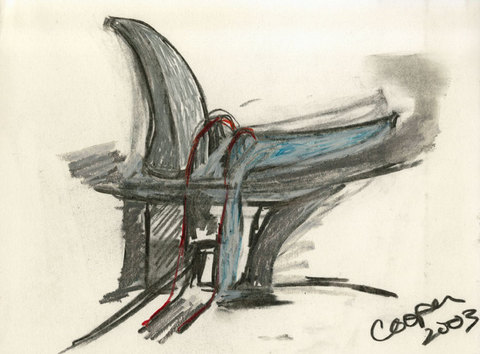 Marcia Cooper WTC Memorial, Drawing, LMCC Proposal, 2003 charcoal and pastel on paper