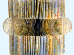CORINA.- Coddiwomple Recycled atlas, thread, encaustic and gold leaf