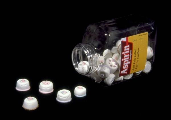 Heather COX Sculpture Archive 1994-1999 Aspirin frosting and bottle