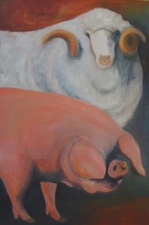 Sandra Maresca Animals with Attitude oil on canvas