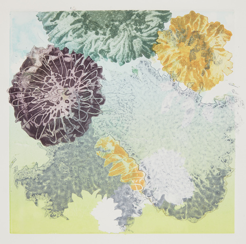 Cynthia MacCollum Flowerpower collagraph monoprint