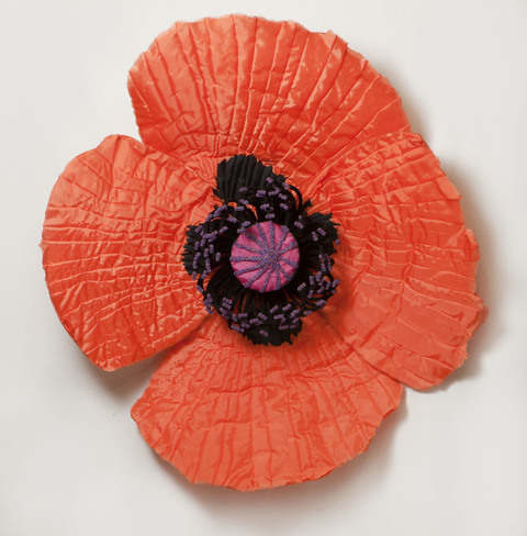 Daina Shobrys Poppies Plastic banner fabric, beads, heat-shrink tubing, pvc pipe frame.