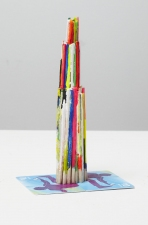 Damien Hoar de Galvan sculpture 2008-2011 match sticks, paint, gift cards