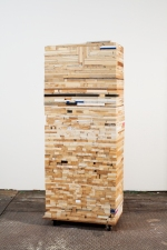 Damien Hoar de Galvan sculpture 2008-2011 scrap wood, casters