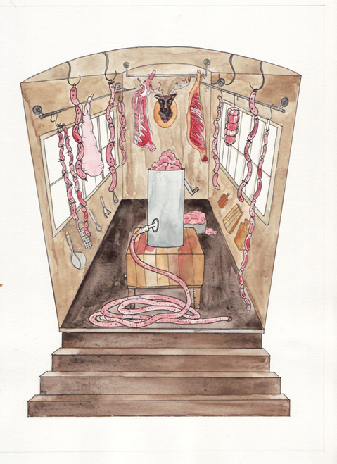 Watercolors The Melodious Malfeasance Meat-Grinding Machine (interior)