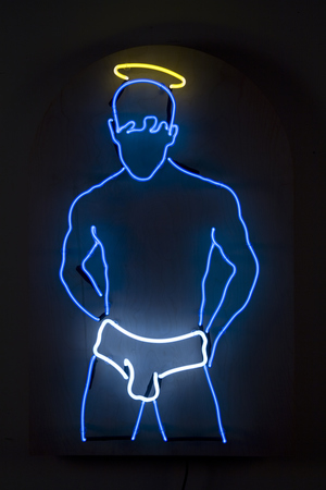 Daniel A Bruce The Singing Sailor neon, transformer, wood, electricity