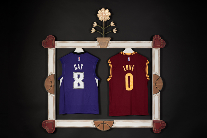Daniel A Bruce Recent Work wood, paint, replica NBA jerseys of Rudy Gay from Sacramento Kings and Kevin Love from Cleveland Cavaliers