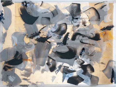 DANIELLE FRANKENTHAL Turbulence Series Acrylic paint on Acrylite® and metal gilding.