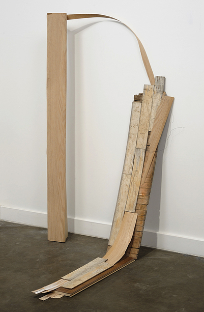 sculpture Wood, wood veneer and wire