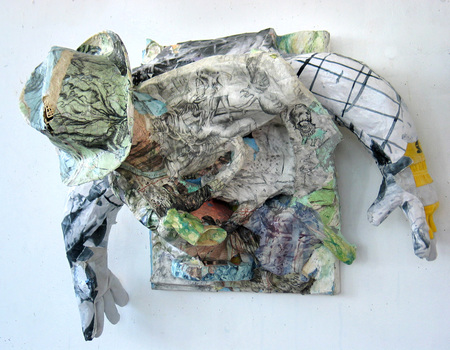 DANIEL ROSENBAUM MACHE SCULPTURE Paper Mache, canvas, styrofoam, paper, paint,wood,pencil,gloves,hat