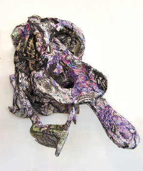 DANIEL ROSENBAUM MACHE SCULPTURE Paper mache ,canvas, wood, paper pencil,watercolor styrofoam