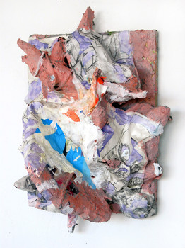 DANIEL ROSENBAUM MACHE SCULPTURE paper mache, paper, canvas,wood, styrofoam,paint