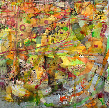 DANIEL ROSENBAUM MIXED MEDIA acrylic,ink jet print paper & mylar, on canvas