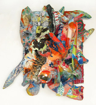 DANIEL ROSENBAUM MIXED MEDIA styrofoam,canvas,mache,paper,prints,acrylic,shoe