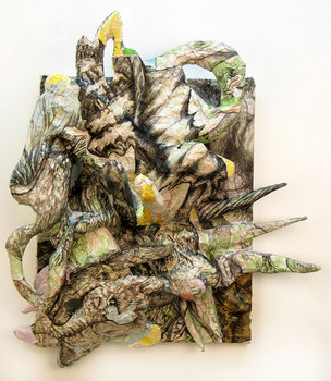 DANIEL ROSENBAUM MIXED MEDIA styrofoam,canvas,wood,pencil,maps ,acrylic