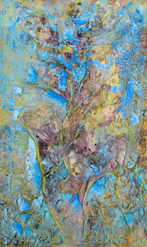 DANIEL ROSENBAUM MIXED MEDIA acrylic,rope,plastic,paper,on canvas