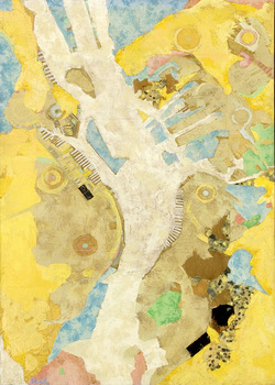DANIEL ROSENBAUM MIXED MEDIA acrylic,paper, maps, on canvas