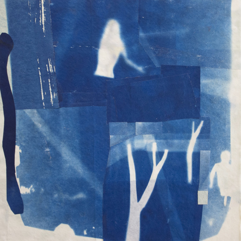 Cyanotype Collage 2018 cyanotype collage on rice paper