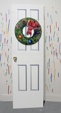 David Jacobs Sculptures door: oil on wood, doorknob; wreath: oil on canvas; Confetti: acrylic on tape