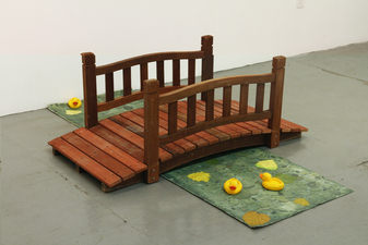 David Jacobs Sculptures wooden bridge, acrylic paint on plaster ducks, acrylic and oil on canvas