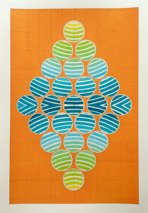2016 Watercolors 7 x 10 inches Diamond Dot Orange-Gold (Amagansett Series) - SOLD