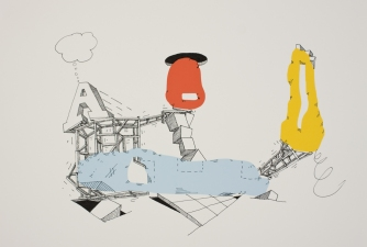 "david kelley ""flat talk walk"" drawings ink on archival print"