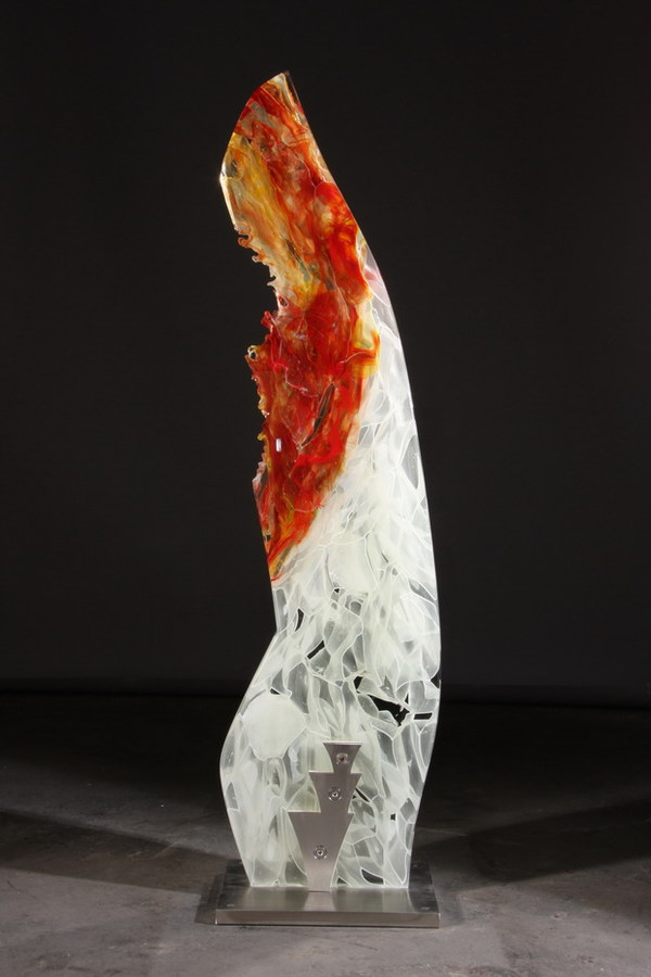 David Ruth Cast Glass Sculpture Cikobia Glass, stainless steel
