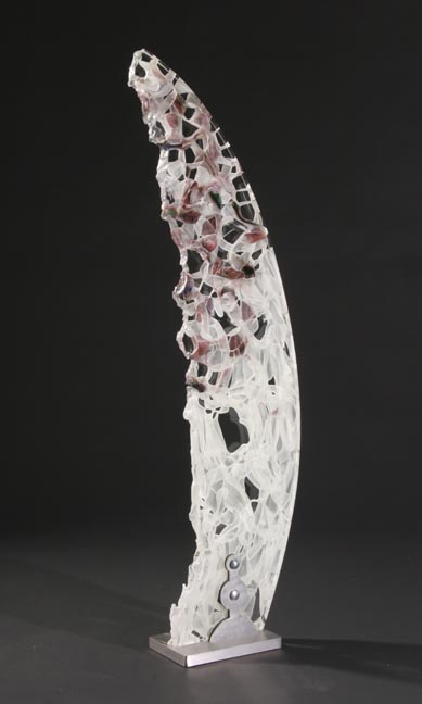David Ruth Cast Glass Sculpture Taga Glass, stainless steel