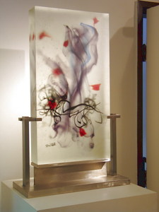 David Ruth Cast Glass Sculpture Markundi Glass, stainless steel
