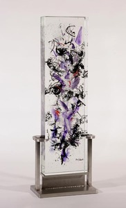David Ruth Cast Glass Sculpture Tefisi Glass, stainless steel
