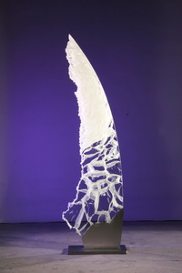 David Ruth Cast Glass Sculpture Tabueran Glass, stainless steel